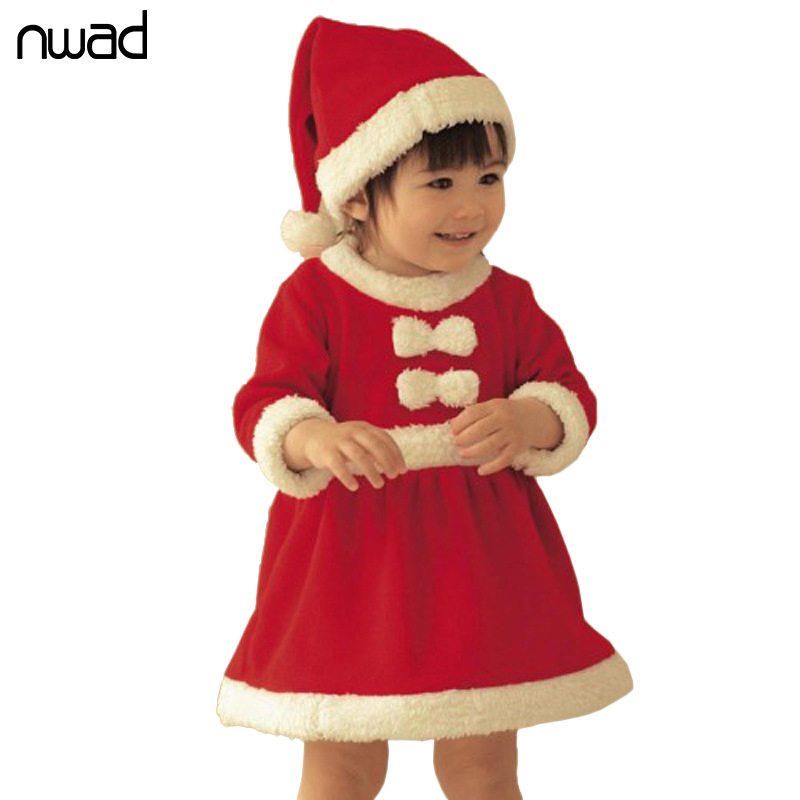 NWAD Red Baby Girls Winter Dress Christmas Bow Clothes For Newborn Baby Girl Party Dresses With A Cap FA008