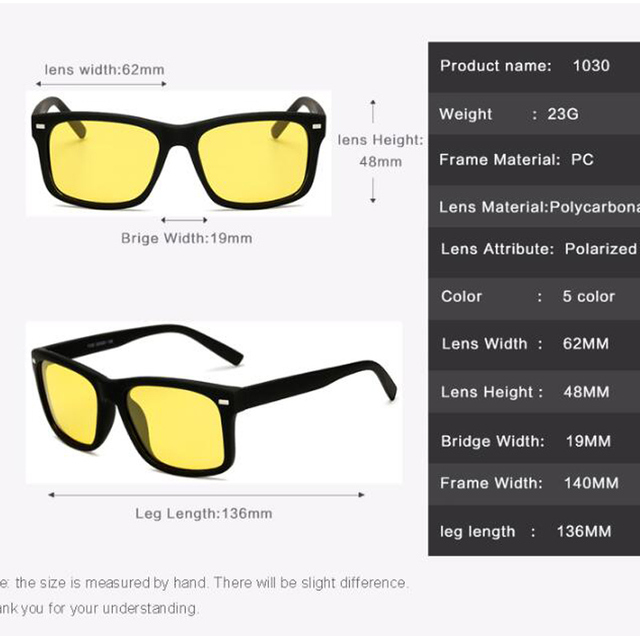 Men's Night Vision Glasses for Driving Anti-Glare Polarized Lens 6