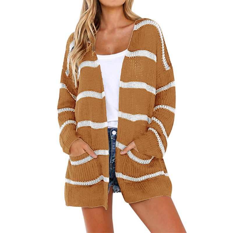 2018 Herfst Vrouwen Lange Vest Mode Gestreepte Gedrukt Gebreide Trui Jassen Bloemen Zakken Vrouwelijke Trui Jas Losse Uitloper