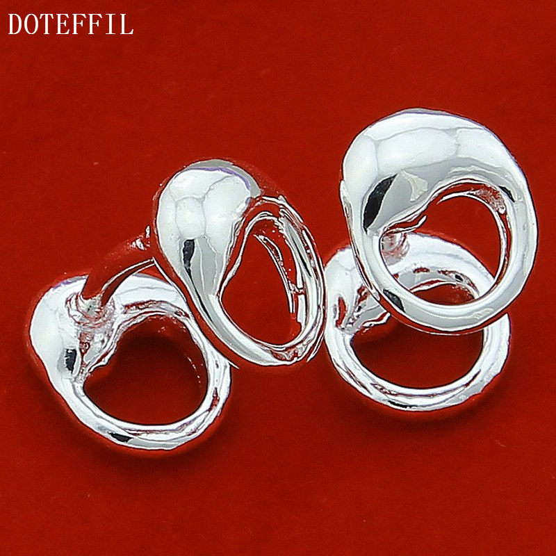 DOTEFFIL 925 Sterling Silver Water Drop Solid Silver Cufflinks For Men Women Wedding Engagement Party Jewelry-1