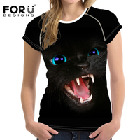 FORUDESIGNS T Shirt Women Top Shirts 3D Black Cat Teen Girls Clothes Female Kawaii T Shirt