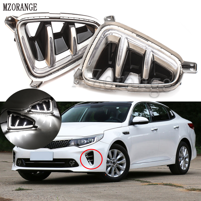MZORANGE 1pair For Kia K5 Optima 2016 2017 LED DRL Daytime Running Light Daylight Signal fog lamp Styling Auto Drive lights kalaite car led drl for kia optima k5 2013 2014 2015 daytime running lights for kia optima k5 fog head lamp cover car styling
