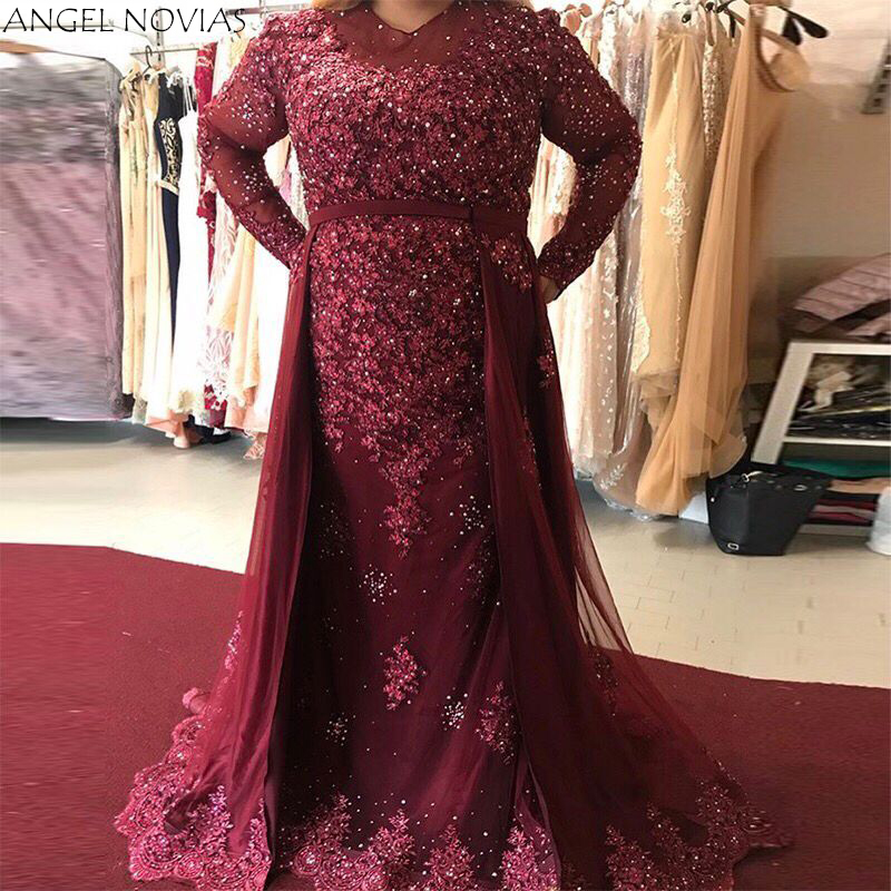 ANGEL NOVIAS Long Sleeve Plus Size Burgundy Crystals Woman Evening Dress 2018 Formal Elegant Party Gown Robe De Soiree