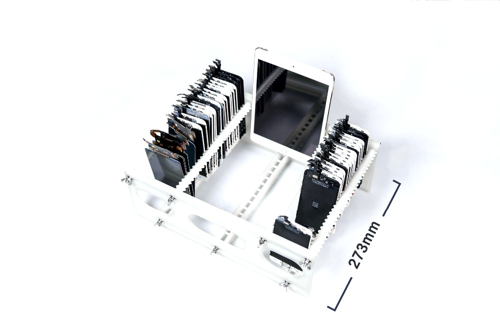 Universial Phone LCD Stand Holder Tray Slots Storage Box for iPhone Samsung LCD Panel Refurbish Support Station Hand Tool Sets     - title=