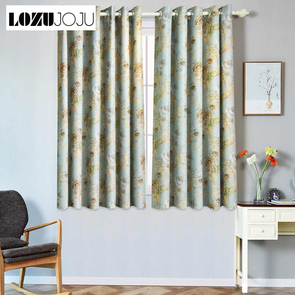 High shading short modern blackout curtains for kitchen ready made curtains living room window grommet top curtains