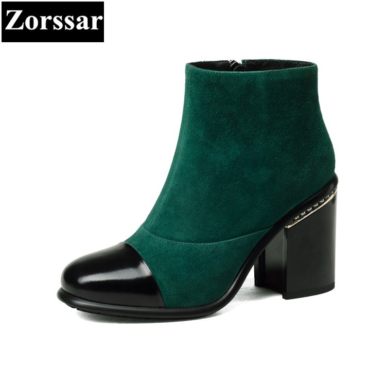 {Zorssar} 2018 NEW arrival fashion High heels Women Boots Round Toe thick heel ankle Martin boots autumn winter female shoes women spring autumn thick mid heel genuine leather round toe 2015 new arrival fashion martin ankle boots size 34 40 sxq0902