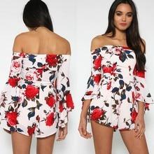 Enteritos Mujer Hot Sale Sexy Off Shoulder Print Elegant Jumpsuit Romper 2017 Summer Style Beach Short Playsuit Women Overalls