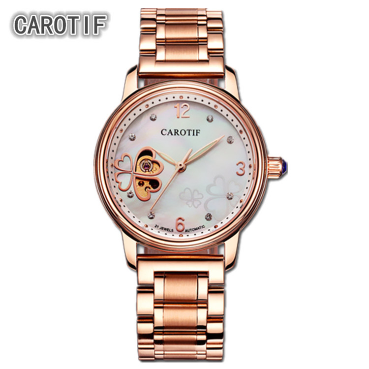 relojes 2017 CAROTIF Fashion Heart-shaped pattern Women's Fully Automatic Mechanical Watch Stainless steel Straps montre femme fashion oil drum shaped stamp collage pattern stainless steel ashtray pen holder orange black