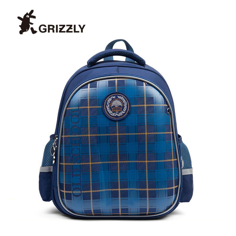 2019 GRIZZLY brand School Bag Kids Orthopedic Backpack With Reflective Strip Football lattice Pattern Children School