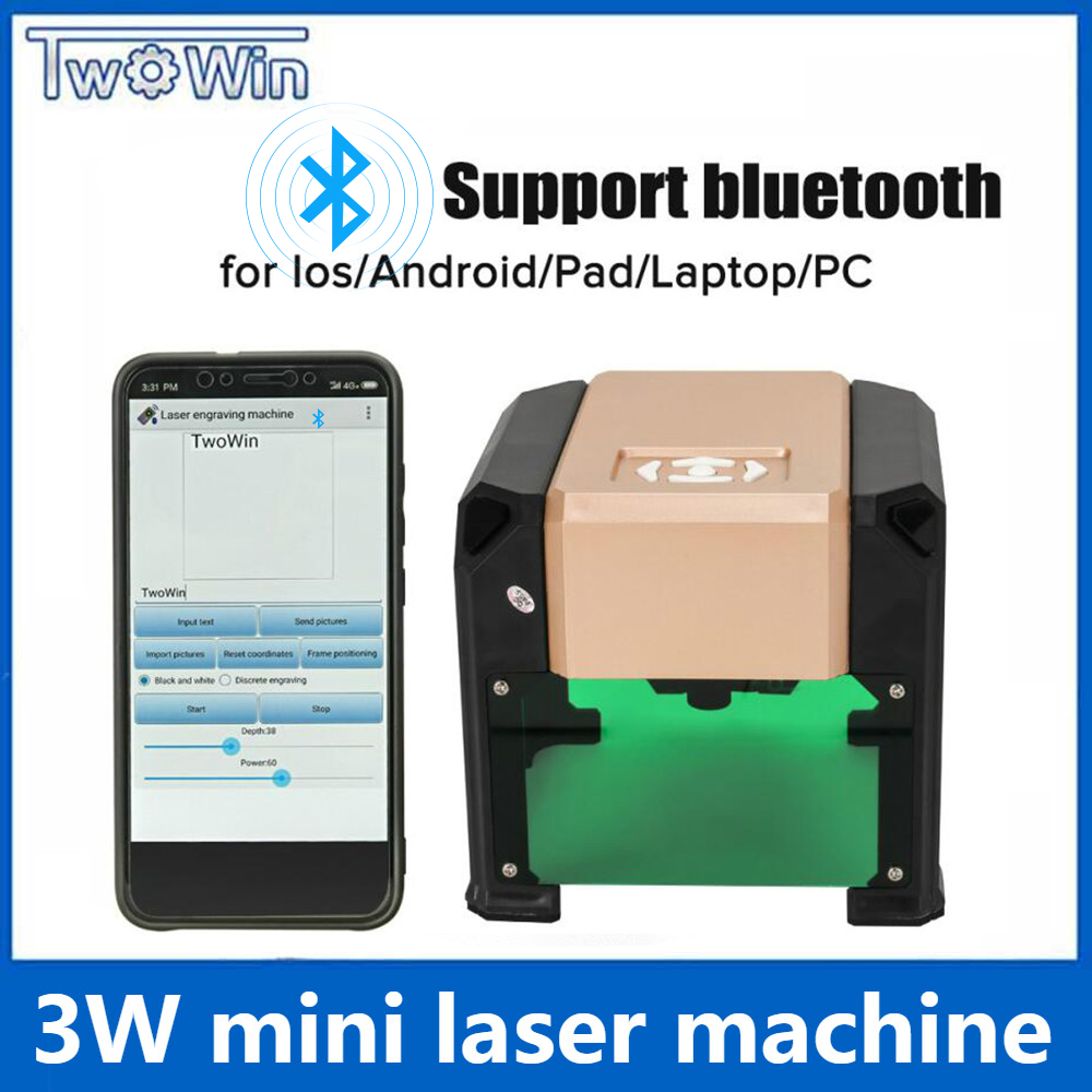 Upgrade Bluetooth 3000MW Purple CNC Laser Engraving Machine AC 110-220V DIY Engraver Desktop Wood Router/Cutter/Printer
