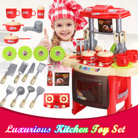 Kids Kitchen Toys Plastic Pretend Play Food Children Toys With Music Light Kids Kitchen Cooking Toy Set For Girls Games
