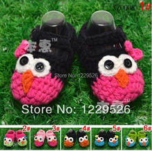 2014 Hot Sale baby owl crochet shoes handmade shoes infant cute shoes toddler  0-12M first walker shoes