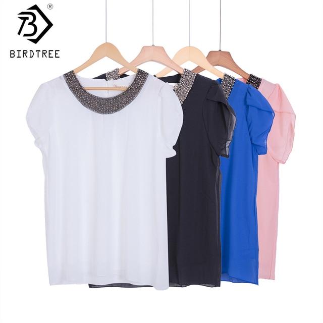 Exclusive 9 Cores S-4XL Nova Blusas Mulheres Chiffon Solta Casuais Beading Blusa Camisa Pullover Encabeça Chemise Femme tamanho Grande #1006