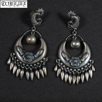 44a909494f66 Viejo indio plata 925 pendientes de plata esterlina de las mujeres  pendientes étnicos pendientes suerte pescado San