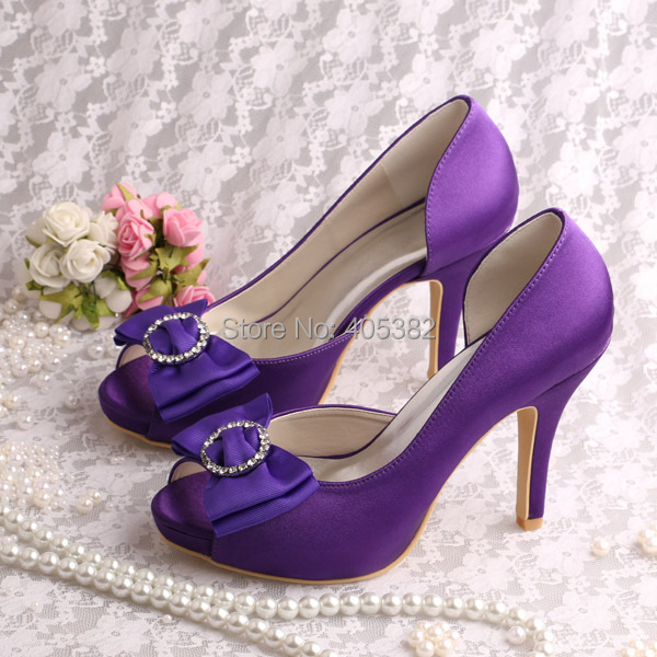 Wedopus Customized Satin Platform Bridal Shoes Purple High Heeled Peep Toes  Large Sizes with Bowtie a120401a3e18