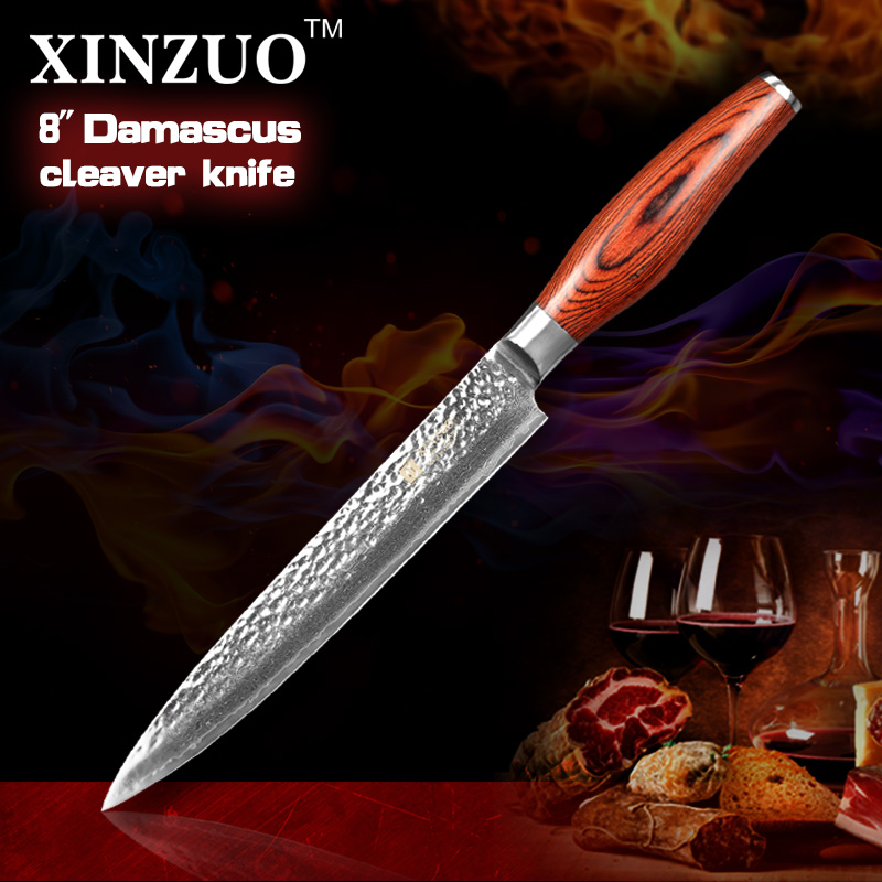 2016 Newest 8 cleaver font b knife b font 73 layers Japan Damascus steel kitchen font