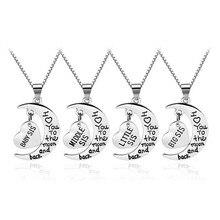 4 Шт. «большая Сестра Mid Sis Lil Sis Sis Ребенка» 2007 Модный Сестра Ожерелья Луна И Сердце Подвески Надписи Ожерелья Для Женщин