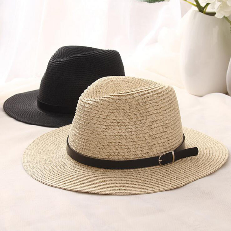 [oZyc]sombreros women summer hat men classic black girdle Panama sunhats Jazz Hat beach hats for women chapeau de paille femme