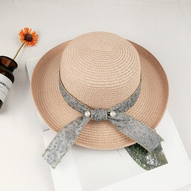 Verano damas marea salvaje encrespado cúpula gran sombrero de paja de ala  Playa vacaciones mujeres perla 631223e5a64