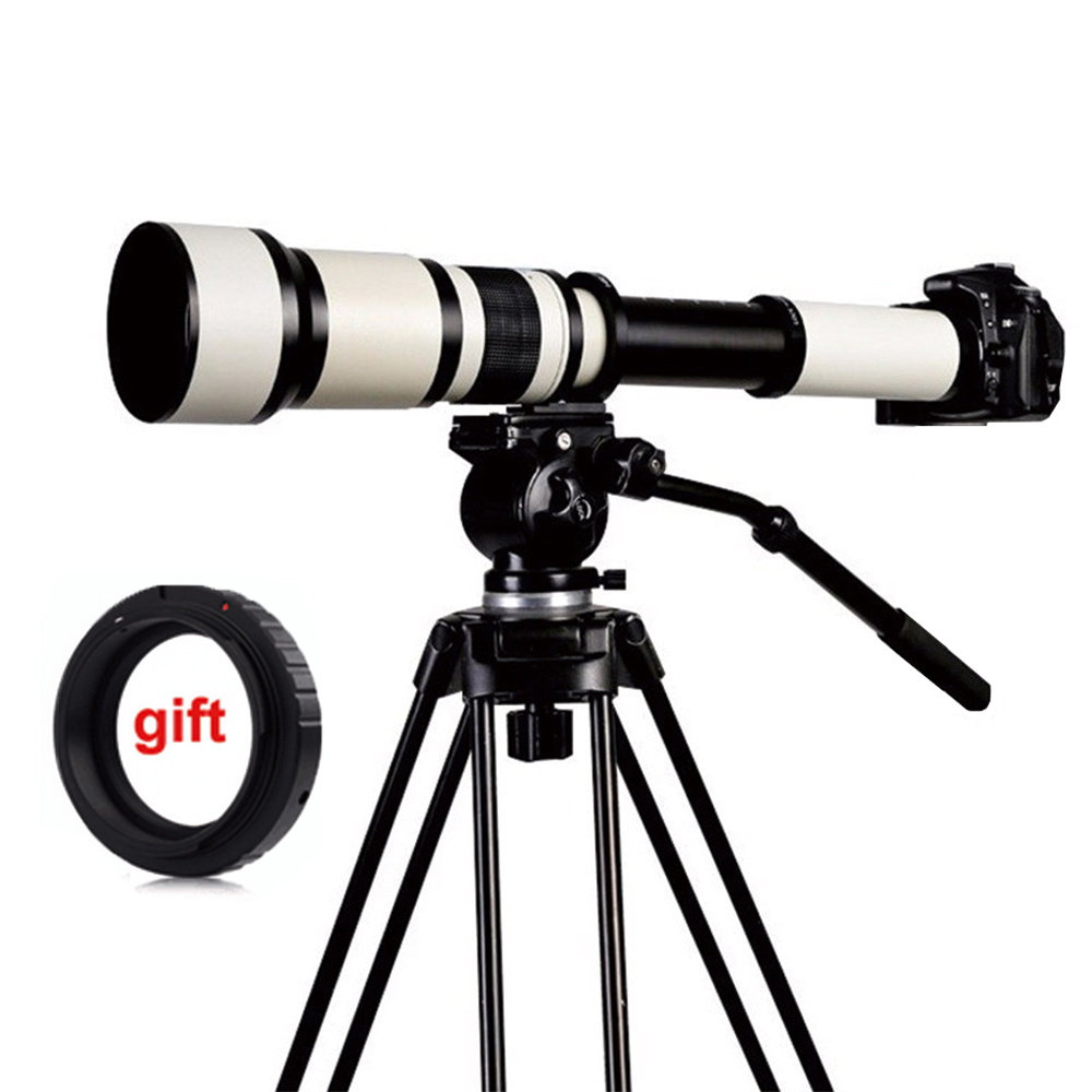 650-1300mm F8.0-16 Super Telephoto Manual Zoom Lens + T2 Adapter for DSLR Canon Nikon Pentax Olympus Sony A6300 A7RII /GH4 GH5 650 1300mm f8 f16 telescope telephoto zoom lens with t mount adapter for canon nikon alpha pentax olympus nex eosm m43 fx camera