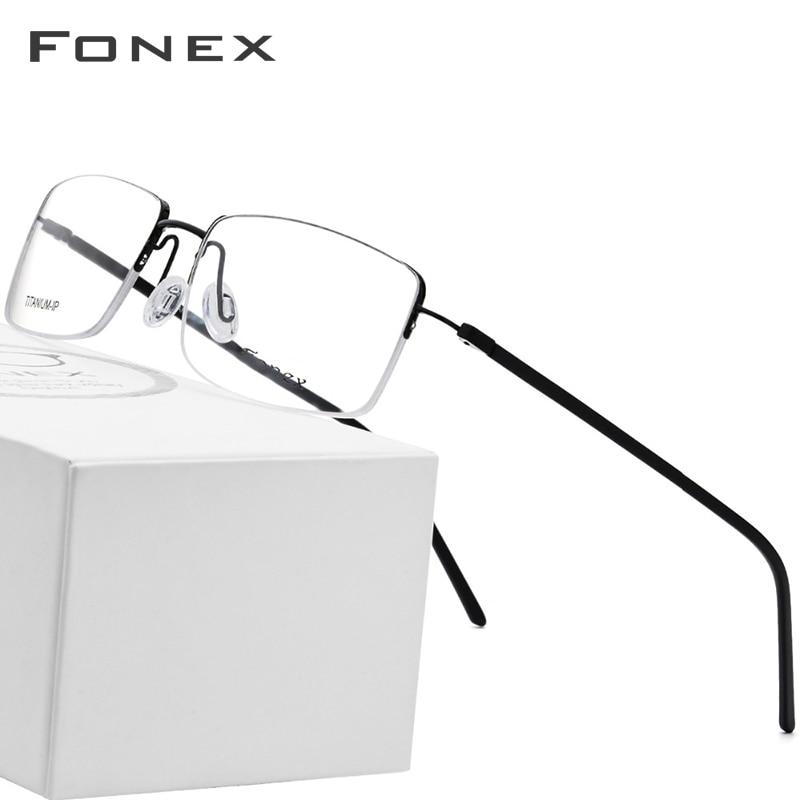 Pure Titanium Glasses Frame Men Fashion Ultralight Square Brand Designer Women Prescription Myopia Optical Frames Eyewear 9128