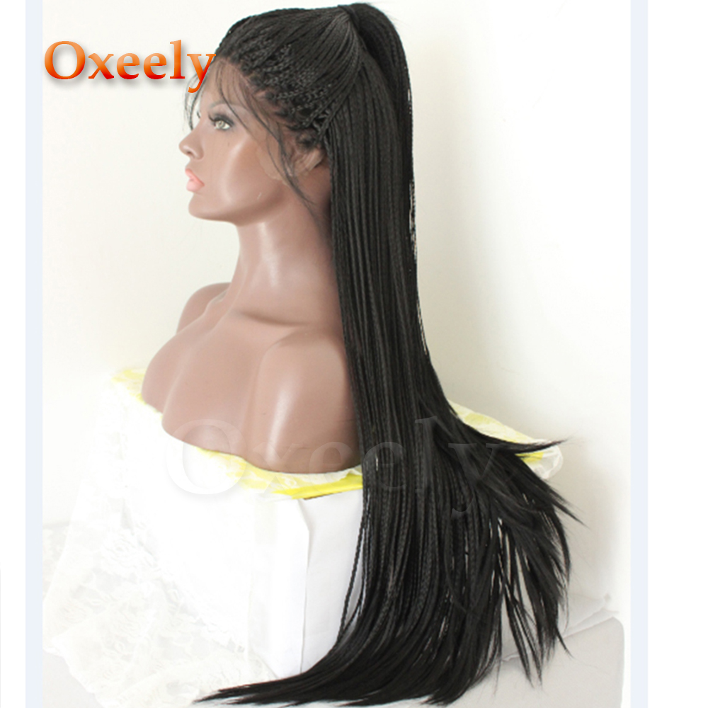 Oxeely Black Color Long Braid Lace Front Wig Micro Braids Synthetic Lace Front Wigs Braided Hair