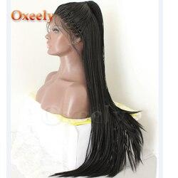 Oxeely Lange Geflochtene Lace Front Perücken Schwarz Farbe Micro Zöpfe Mit Baby Haar Glueless Synthetische Spitze Front Perücken für Schwarz frauen