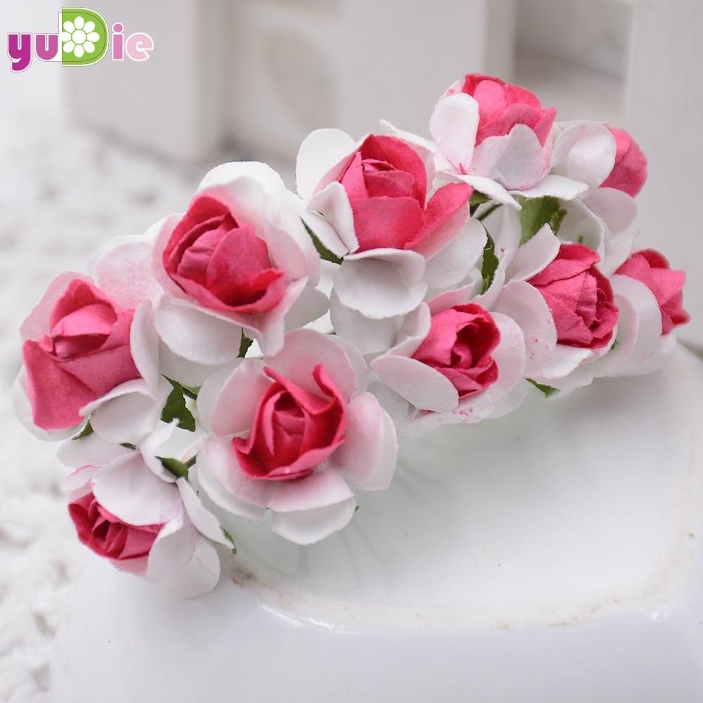 10pcs Mini Miniature Rose Paper Flower 1cm Artificial Flower Wedding
