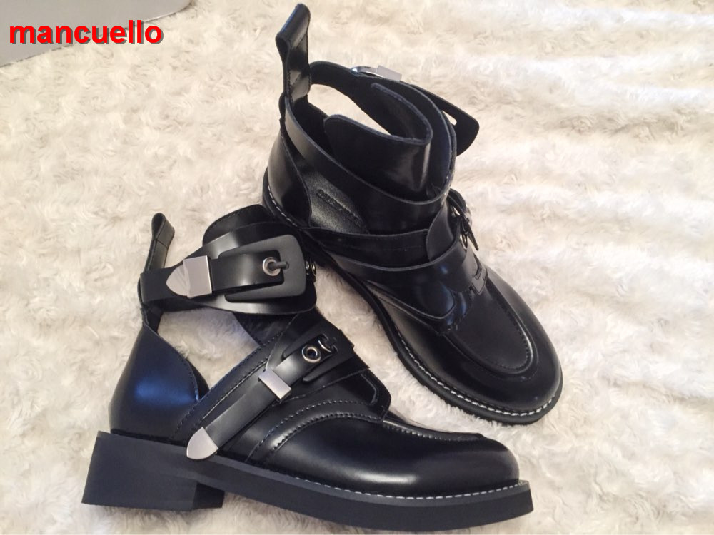 Mancuello New Hot Genuine Leather Ankle Boots Cutout Motorcycle Boots Sexy  Belt Buckle Shoes Woman Riding Gladiator Bootie Flats 021ecb67bac
