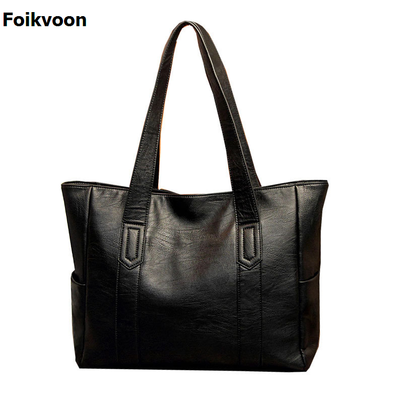 Foikvoon Hot Women Handbags Vintage Casual Tote Luxury Handbags Women Bags Designer 2017 Pu Leather Women Bag LargeFoikvoon Hot Women Handbags Vintage Casual Tote Luxury Handbags Women Bags Designer 2017 Pu Leather Women Bag Large