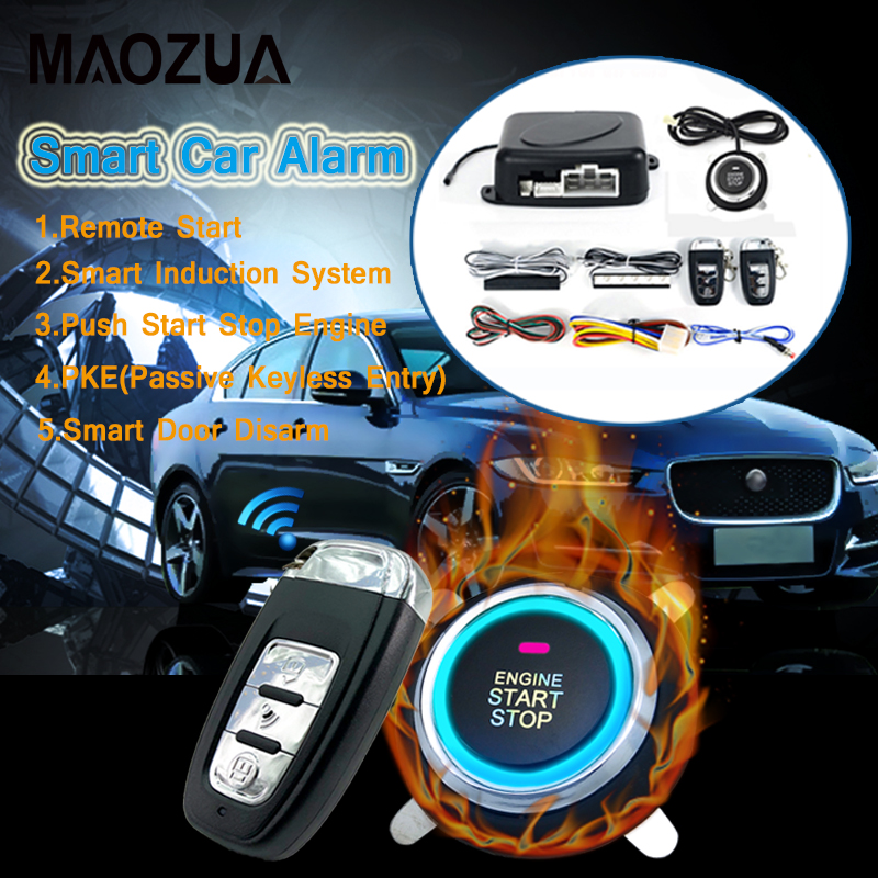 9Pcs/set Auto Remote Start Car Alarm System Engine Starline Push Button Start Stop SUV Keyless Entry System Car Immobilizers