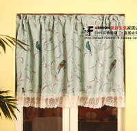 Mint Green Bird Idyllic Mediterranean Pastoral Sided Printing Lace Curtain Gauzes Coffee Door Partitions Curtain Two