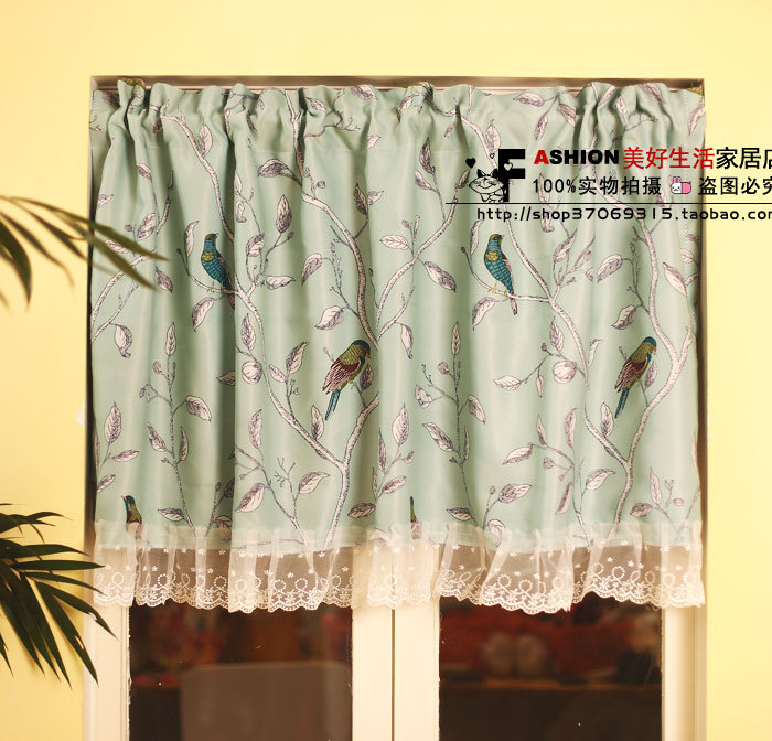 Free Shipping Mint Green Bird Idyllic Mediterranean Pastoral Sided Printing  Lace Gauzes Coffee Kitchen Curtains Two