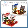 2 unids/lote Mini Qute joya kawaii 2 estilos chino gato de la fortuna de plástico bloques de construcción de ladrillo película de dibujos animados modelo educativo del juguete