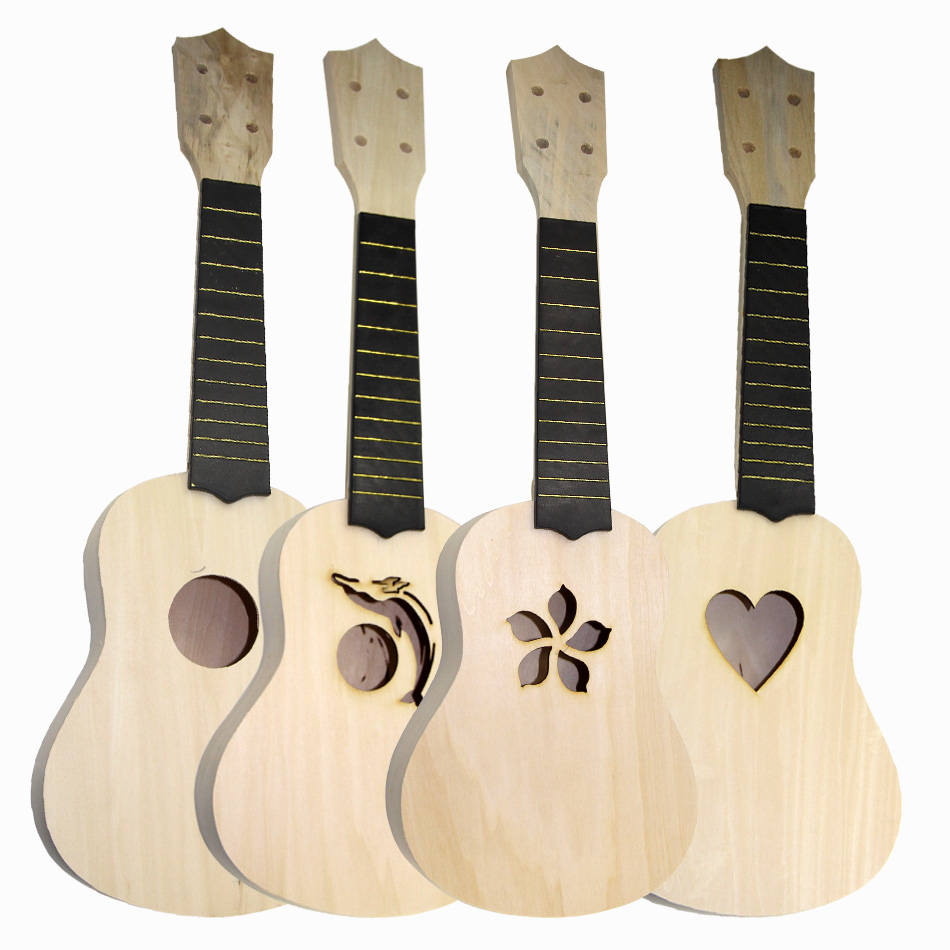 21 Inch Simple and Fun DIY Ukulele DIY Kit Tool Hawaii Guitar Handwork Support Painting Children's Toy Assembly for Amateur