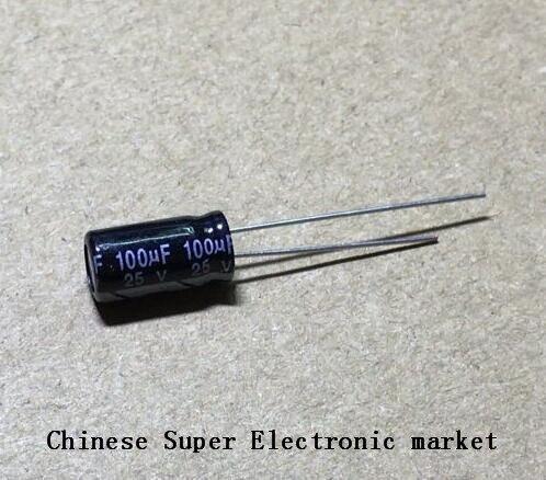 100 шт. 100 мкФ 25 В 6X12 мм электролитический конденсатор 25 В 100 мкФ 6*12 мм Алюминий электролитический конденсатор