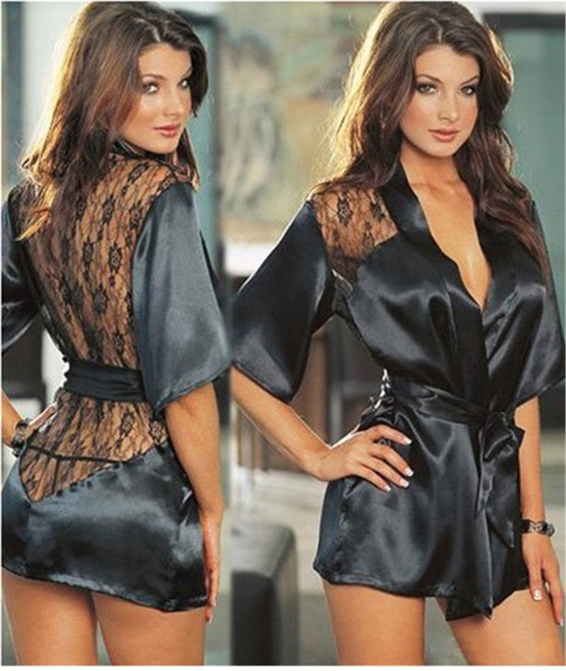1PCS Hot Sexy Lingerie Plus Size Satin Lace Black Kimono Intimate Sleepwear Robe Sexy Night Gown Women Sexy Erotic Underwear plus open front tassel trim kimono