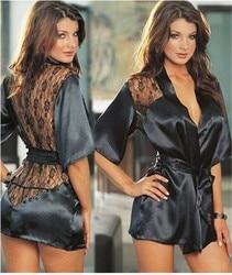 1PCS Hot Sexy Lingerie Plus Size Satin Lace Black Kimono Intimate Sleepwear Robe Sexy Night Gown Women Sexy Erotic Underwear