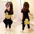 Otoño Adolescente Niñas Traje de La Historieta del Pato de Impresión Ropa de Los Niños t-shirt + Pant 2 UNIDS Ropa Niños set Bebé chica Loose Harem Pant A025