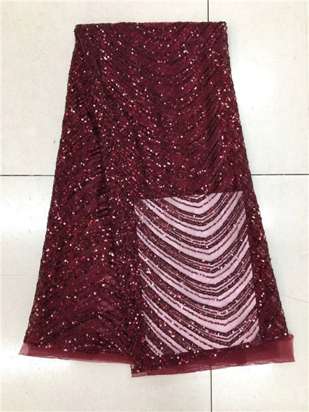 High quality African net lace fabric with advanced Sequins wine Color guipure lace fabric 2017 New