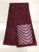 High quality African net lace fabric with advanced Sequins wine Color guipure lace fabric.2017 New Nigeria tulle lace fabric