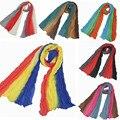 10Pcs/Lot Children Gradient Color Scarf Pleated Scarves Shawls Solid Cotton Voile Warm Soft Silk Scarf Shawl Cape 160*50cm