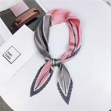 High quality summer Satin pleated Silk Scarf for women Foulard Femme fashion Elegant Womens Wrap Handkerchief Bandana kerchief