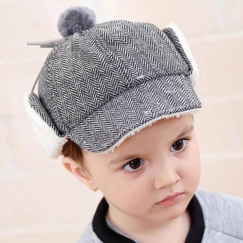 3c1ac3021ce Baby Winter Hats for Boys Thicken Plush Baby Cap with Earmuffs Beanies Baby  Warm Hat 1 to 4 years old Children Cap for Girls -in Hats   Caps from  Mother ...