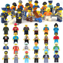 POGO Mini Assembled Police Building Blocks Figures Movie Sets 12pcs Occupation Role Bricks Educational Toys Compatible Legoings(China)