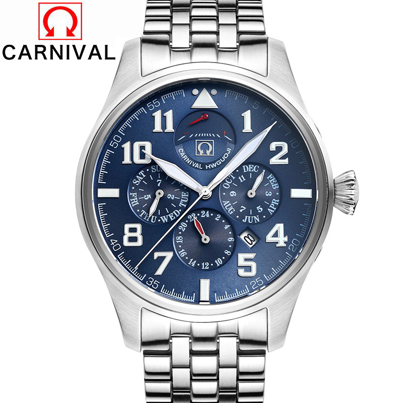 Carnival Top Brand Luxury Sapphire Luminous Men Watches Automatic Mechanical Clock Man Stainless Steel Waterproof 100M Watch men luxury automatic mechanical watch fashion calendar waterproof watches men top brand stainless steel wristwatches clock gift