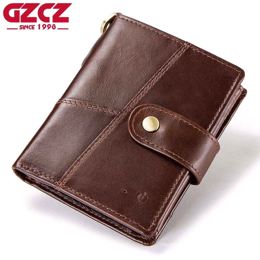 GZCZ New MenS Smart Wallet Genuine Leather Small Coin Purse Connected with APP Prevent Theft And Loss With GPS Map PortomoneeGZCZ New MenS Smart Wallet Genuine Leather Small Coin Purse Connected with APP Prevent Theft And Loss With GPS Map Portomonee