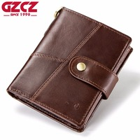 GZCZ New Men'S Smart Wallet Genuine Leather Small Coin Purse Connected with APP Prevent Theft And Loss With GPS Map Portomonee