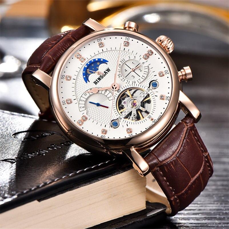 BINSSAW Mens Watches Top Brand Luxury Round Steel Case Watch Men Sport Tourbillon Mechanical Watch Moon Phase Clock New Horloge