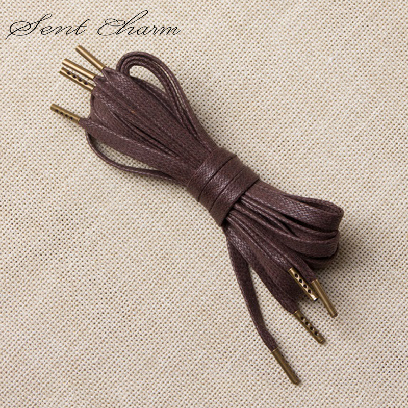 SENTCHARM Waxed Flat Metal Head Shoelaces Cu Shoe Leader Waterproof Shoelaces For Casual Shoes 130cm LT066